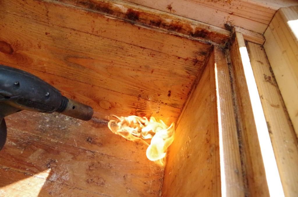 <strong>...und anschließend abgeflammt. Das Holz muss sich verfärben und kleine Bläschen blubbern auf.</strong>