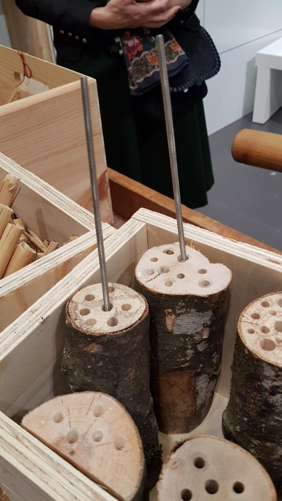 Guter Tipp bei diesem Stand zum Wildbienenhotel-bauen: Das Reinigen der Bohrlöcher mit dünnen Gewindestangen!