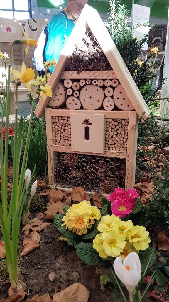 Leider gab es auch Murks: Dieses Insektenhotel bietet vornehmlich Spinnen Quartier und die Blumen sind auch nichts für Wildbienen.