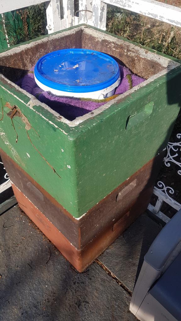 Das Wachs-Wasser-Gemisch kühlt dieses Mal gut verpackt und isoliert ab für eine bessere Trennung.