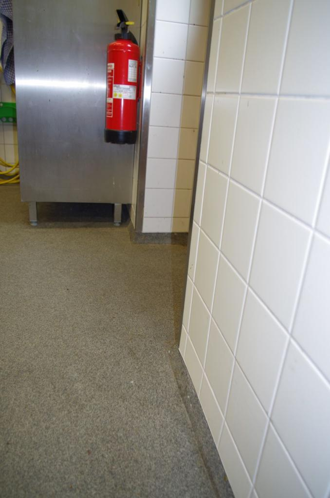 Der spezielle, rutschfeste Boden ist als Hohlkehle gestaltet um Schmutz kein Quartier zu bieten. Die Wandfliesung steht über damit sich kein Staub ablagern kann.