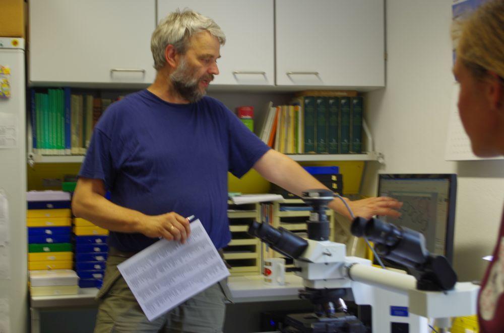 Im Honiglabor berichtet Herr Etzold von seiner Arbeit bei der Pollenanalyse. Mindestens 500 Pollenkörner werden ausgezählt; dabei werden rund 120 verschiedene Herkünfte erkannt.
